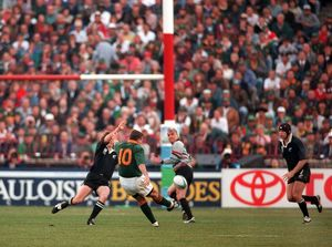 Joel Stransky kicks the winning drop-goal in the 1995 Rugby World Cup Final