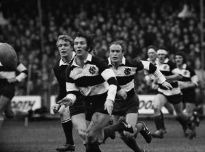 John Dawes and Mike Gibson in action for the Barbarians against the All Blacks in 1973