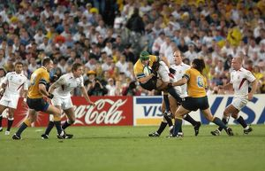 Jonny Wilkinson puts in a huge tackle during the 2003 World Cup Final