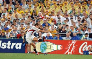 Jonny Wilkinson strikes a kick at goal in the 2003 World Cup Final