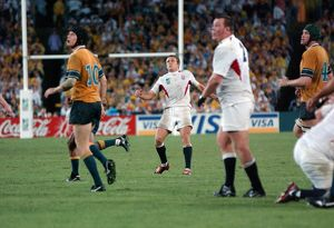 Jonny Wilkinson watches his drop-goal head towards the posts in the 2003 World Cup Final