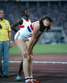 Kathy Smallwood and Beverley Goddard after the 1980 Olympic 200m final