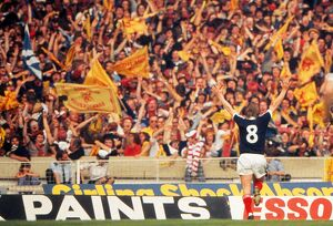 Kenny Dalglish celebrates his goal in front of the Scotland fans at Wembley - 1977 British Home Championship