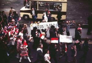 The 'Leeds died 1973' coffin is carried through the streets of Sunderland