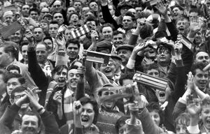 Leicester City fans celebrate their teams victory against Liverpool in the 1963 FA