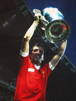 Liverpool goalscorer Alan Kennedy celebrates with the trophy - 1981 European Cup Final