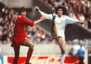 Liverpool's Alan Hansen and Real Madrid's Jose Antonio Camacho - 1981 European