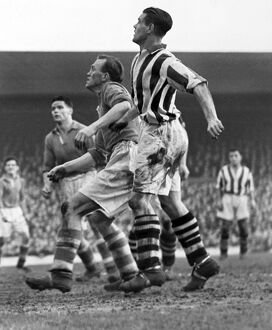 Liverpool's Albert Stubbins and West Brom's Cyril Williams