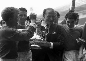 Matt Busby and his Manchester United players with the FA Cup in 1963