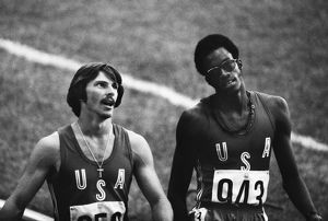 Mike Shine & Edwin Moses at the 1976 Montreal Olympics