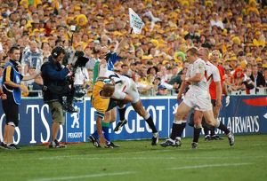 Mike Tindall dump tackles George Gregan off the field during the 2003 World Cup Final