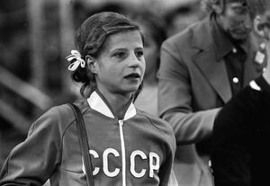 Olga Korbut in tears at the 1972 Munich Olympics