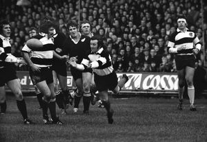 Phil Bennett passes for the Barbarians against the All Blacks in 1973