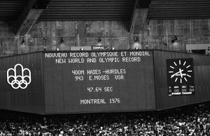 The scoreboard shows Edwin Moses world record at the 1976 Montreal Olympics