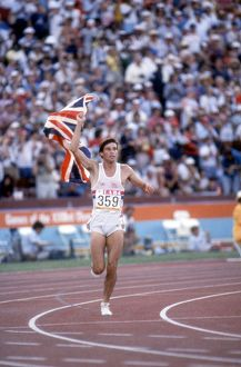 Seb Coe goes on a victory lap after retaining his 1500m Olympic title in Los Angeles