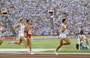 Seb Coe leads the way in the 1984 1500m Olympic final