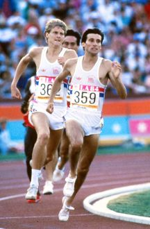 Seb Coe and Steve Cram enter the home straight in the 1500m final at the 1984 Los