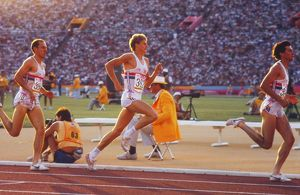 Sebastian Coe leads Steve Cram and Steve Ovett in the 1500m Final at the 1984 Summer