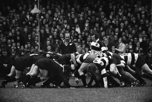 Sid Going and Gareth Edwards during the famous game between the All Blacks and Barbarians