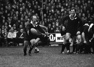 Sid Going kicks ahead for the All Blacks against the Barbarians in 1973