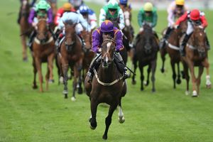 Simenon ridden by Ryan Moore, leads the Ascot Stakes - Royal Ascot 2012