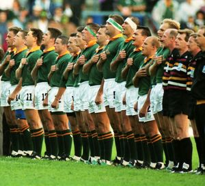 South Africa line-up before the opening game of the 1995 Rugby World Cup