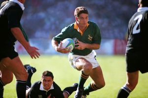 South Africa's Joost van der Westhuizen makes a break during the 1995 Rugby World