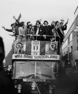 The Sunderland team bus arrives back at Roker Park after their 1973 FA Cup win.
