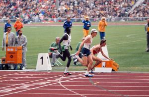 The USA's Dave Wottle wins the 800m final at the 1972 Munich Olympics
