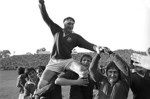 Willie John McBride is chaired off the pitch after the British Lions win the Third Test