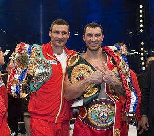 + Wladimir Klitschko with his brother Vitali after defeating David Haye in Hamburg