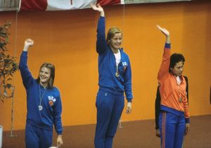 Women's 100m Freestyle swimming podium at the 1976 Montreal Olympics