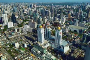 Aerial general view of buildings on the skyline in Bangkok, Thailand