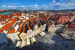 Aerial view of city skyline and the rooftops of buildings in Old Town Square, Prague