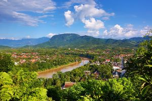 Aerial view of Luang Prabang and river, Laos