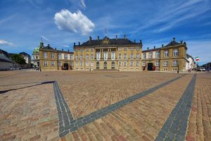 The Amalienborg Palace in Amalienborg Sqaure in Copenhagen, Denmark