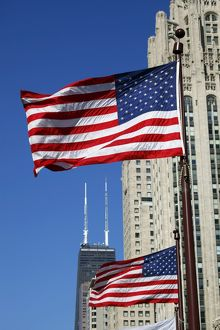 American Flags in Chicago, Illinois, America