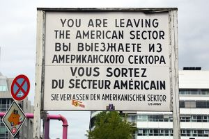 American sector sign at the Checkpoint Charlie border crossing in Berlin, Germany