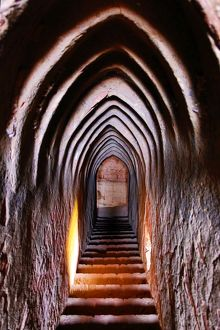 Arched stairway and passage at Thisa Wadi Pagoda Temple on the Plain of Bagan, Bagan