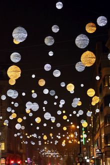 Bals and Orbs of Oxford Street Christmas lights in London