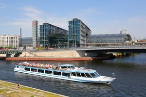 Berlin Hauptbahnhof central station and the River Spree in Berlin, Germany
