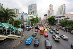 Cars and traffic jam during rush hour, Bangkok, Thailand