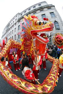 Chinese Dragon Dance at Chinese New Year Parade in London