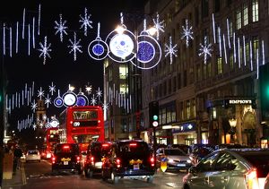 Christmas decorations and lights in the Strand in London, England