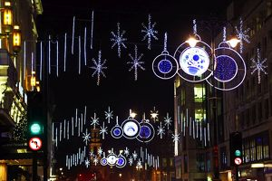 Christmas lights and decorations in the Strand, London, England