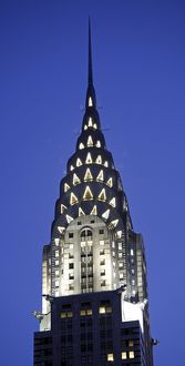 The Chrysler Building illuminations at night in New York, United States of America