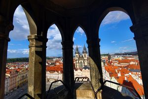 Church of our Lady before Tyn framed in arched window, Prague