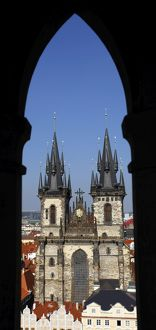 Church of our Lady before Tyn seen through window arch, Old Town Square, Prague