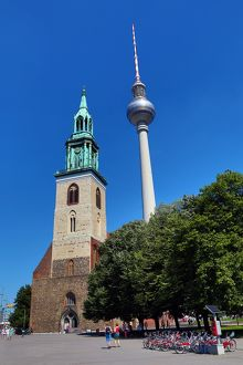 Church of St Mary and the Berlin TV Tower, Fernsehturm, television tower in Berlin