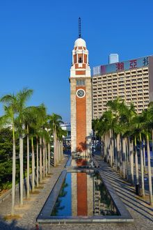 The clock tower on the waterfront in Tsim Sha Tsui in Hong Kong, China